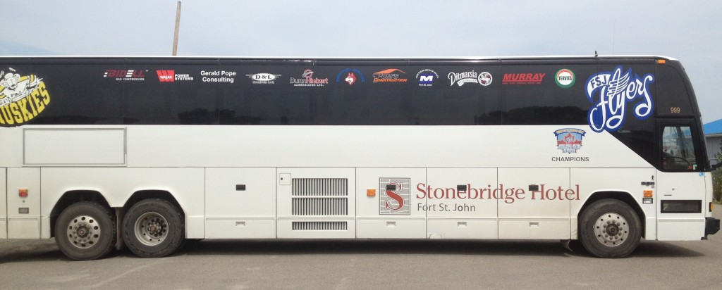 Fort St. John Flyers bus sponsored by Ditmarsia Holdings Ltd.
